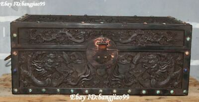 "16"" Old China Ebony Wood inlay Gems Dynasty Dragon Loong Treasure Storage Box"