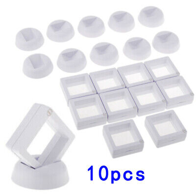 10Pc 3D Floating Coin Jewelry Display Frame Holder Box Case Stand White 50*50 Mm