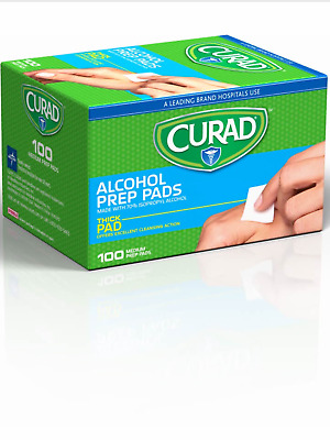 Curad Alcohol Thick Prep Pads 100 Ct- Excellent Cleansing Of Skin