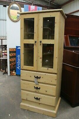 Vintage Antique Baltic Pine Display Cabinet Chest Drawers Floor Boards Glass