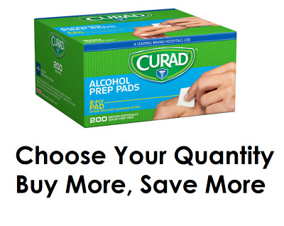 Curad Alcohol Thick Medium Prep Pads Excellent Cleansing Of Skin Sterile