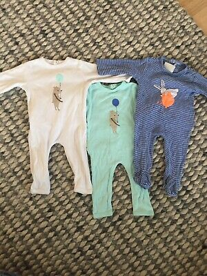 Seed Heritage Baby Long Sleeve One Pieces X 3 Bulk Buy - Size 000 0-3months GUC