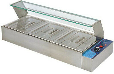 Commercial Food Warmer Bain Marie 3 X 1/2 Gn Trays+Poly Cover Glass Display Wty