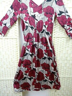 Vintage silky feel polyester red floral boho granny chic floaty sheer dress M