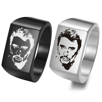 Johnny Hallyday Photo Engraved Stainless Steel Ring for Fans Anniversary Ring