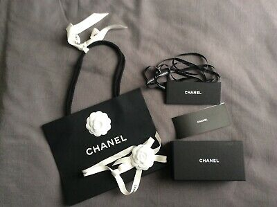 Chanel small empty box only with shopping bag, ribbon, camellia