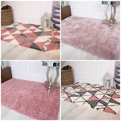 Coral Pink Deep Cosy Plain Shaggy Rug Non Shed Thick Geometric Shag Bedroom Rug