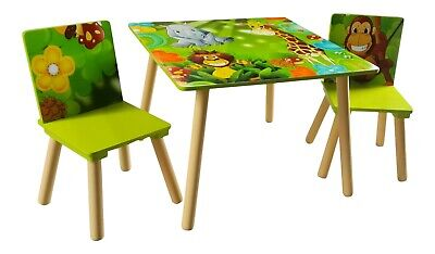 Jungle Kids Table And 2 Safari Chairs Set Animals Playroom Bedroom
