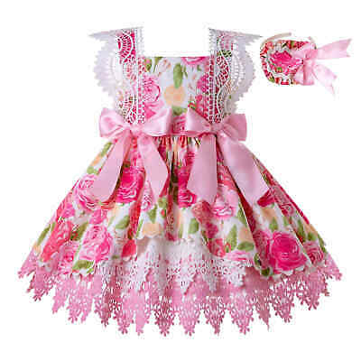 Summer Flower Girls Spanish Dresses Princess Lace Bridesmaid Party Pageant Prom