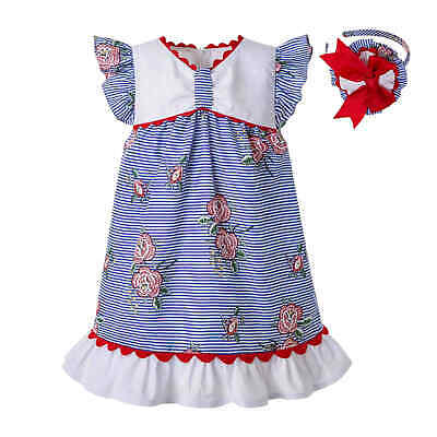 Baby Girls Flower Dress Infant Spanish Striped Clothing Birthday Party Pageant
