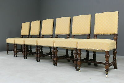 Set 6 Upholstered Oak Dining Chairs