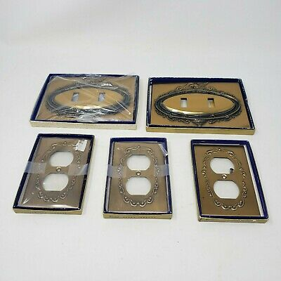VINTAGE Lot 6 LIGHT SWITCH PLATES COVERS FEDERAL MIRROR EAGLES BRASS SMITH HOUSE