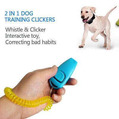 4pcs Dog Training Clickers 2 in 1 Whistle and Clicker Pet Training Tools G0B7