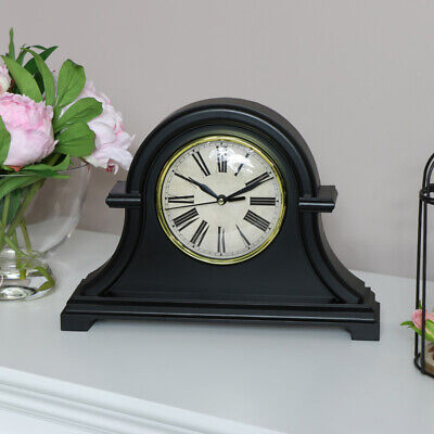 Black mantel clock arched curved vintage desk tabletop display Fathers day gift