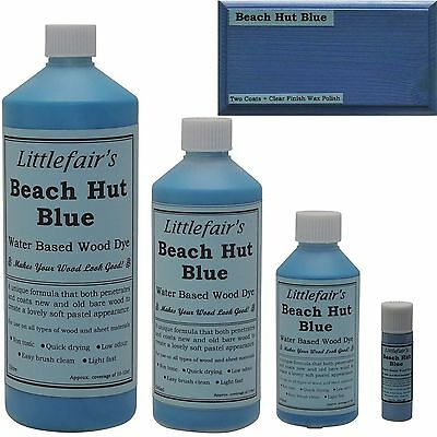 Littlefair's Water Based Rustic Shabby Chic Wood Stain and Dye - Beach Hut Blue