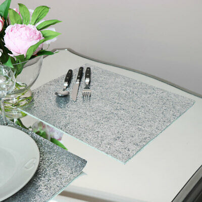 Silver glitter placemats table mat settings PVC dining table decor accessories