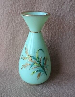 Antique Bohemian French Baccarat Opaline Enameled Glass Vase Victorian