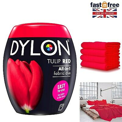 DYLON Washing Machine Dye Pod Tulip Red 350G Permanent Dyes-up Fabric Powder RED