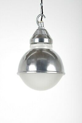 Restored Industrial Holophane Polished Dome Pendant Ceiling Light