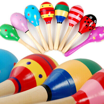 Cute Sand Hammer Rattle Musical Instrument Percussion Wooden Ball Toy Kids Gift
