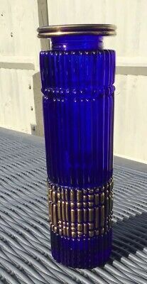 Vintage Retro Blue Gold Ribbed Glass Moulded Vase 70s 80s Scandi Style