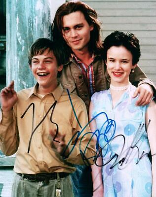 Johnny Depp Leonardo DiCaprio Juliette Lewis signed 8x10 autographed Photo +COA