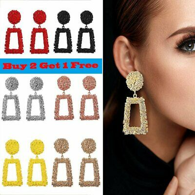 Jewelry Geometric Square Dangle Drop Earrings Studs Metal Statement Big Gold UK
