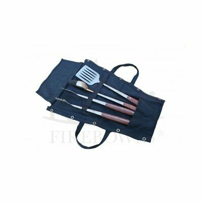 Kadai Set of 3 Cooking utensils and canvas wrap for storage.