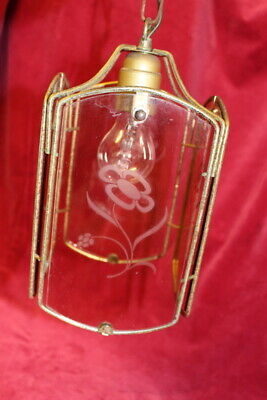 French Vintage Brass Victorian Lantern/Hanging/Ceiling lamp/light designed glass