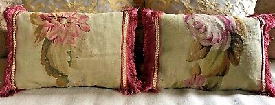 """PAIR EARLY 19TH C AUBUSSON FRAGMENT PILLOWS, SILK BACKING w/FRINGE  18"""" x 12"""""""