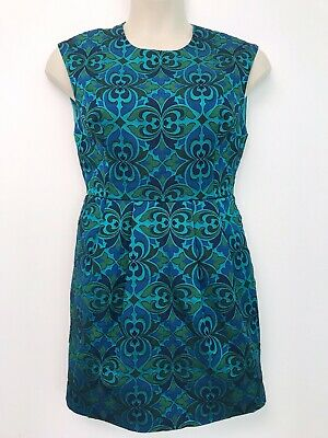NWT Warehouse Green Blue Paisley Tapestry Dress Size 14 Jacquard Retro Vintage