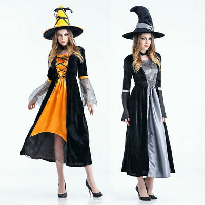 Witch Costume Ladies Halloween Adult Witches Fancy Dress Women Dress for Cosplay