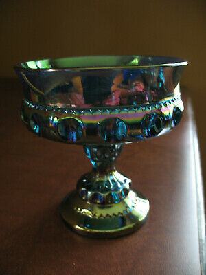 Indiana Glass Blue Iridescent Carnival Kings Crown Thumbprint Compote Dish