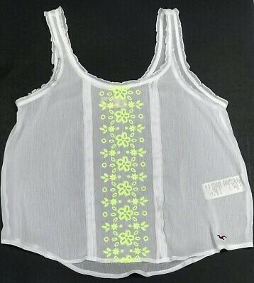 Hollister Women's Top Sz S Cropped White w/Yellow Flower Embroidery Sleeveless