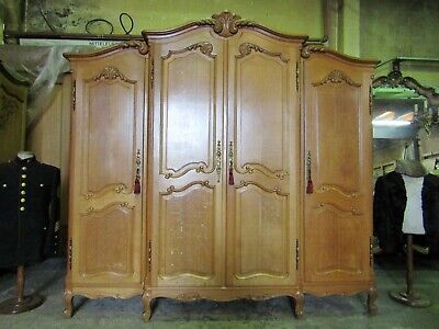 Top quality French bow top golden oak Louis armoire,Shelves,wardrobe,Flat pack