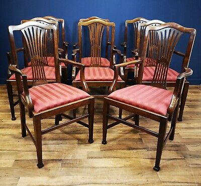 Set Of 8 Antique Victorian Mahogany Armchairs / Carvers Circa 1900 Dining Chairs