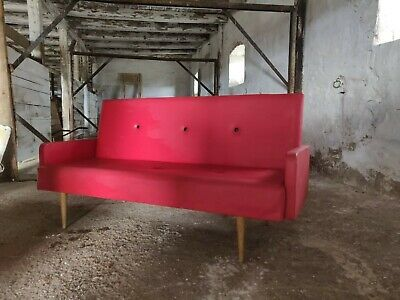 Vintage 3-Seater Timber Rockafella Sofa, Mid-Century Seating in Red Vinyl