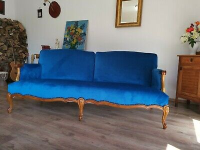 20th Century Victorian Baroque Sofa Couch Seating, Walnut Carved Wood