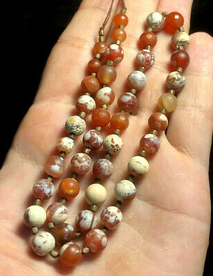 Ancient Carnelian Bactrian Original Near Eastern Round Ball Bead Necklace