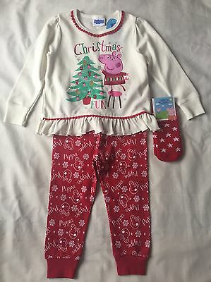 BNWT Peppa Pig Girls 3Pc Christmas Pajama Sets Age 18-23 Months