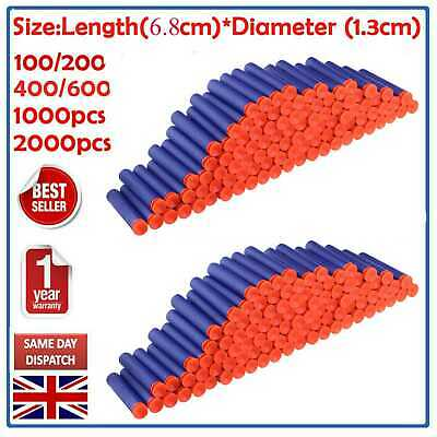 Ultnice 2000Pcs Gun Soft Refill Bullets Darts Blasters For Nerf N-Strike Kid Toy