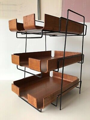 Vintage Mid Century Teak  Mallod Four Tray Desk Tidy - In Out Office Tray Stand