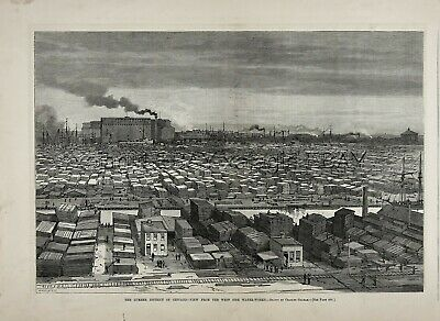 Illinois Chicago Lumber Yards South Branch of Chicago River, 1880s Antique Print