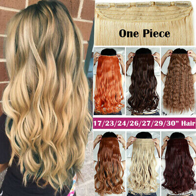 One Piece 100% Real Clip in AS Remy Human Hair Extensions Full Head Highlight UK