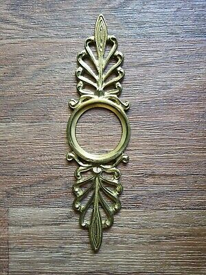Vintage Large Ornate Brass Front Door Entry Escutcheon Back Plate 11 x 3