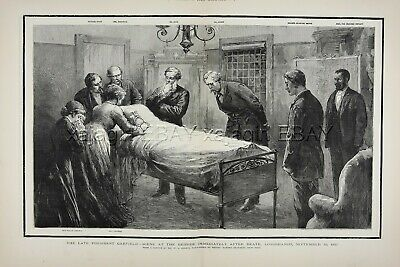 PRESIDENT Garfield Deathbed Funeral Death, Huge Double-Folio 1880s Antique Print
