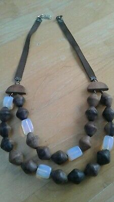 Wooden & Opalescent Glass(?) Bead Swag Necklace Ribbon Copper Ethnic Tribal Look