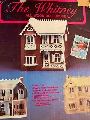 """THE WHITNEY"" All Wood Doll House Kit VINTAGE With Box & Directions Nice Cond.!"