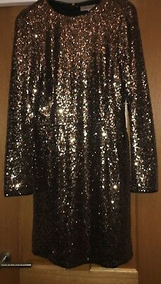 fa6a5f45 Marks Spencer M S Limited Edition Gold Black Sequin Sparkle Xmas Party Dress  12