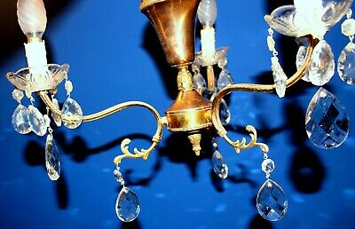 Antique Original Vintage French  Brass Crystal  Glass Chandelier 30 x 40 cm